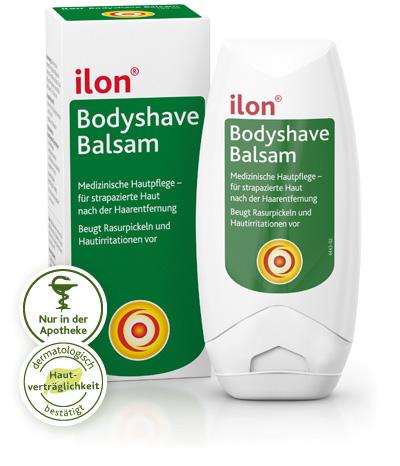 Verpackung und Tube des ilon Bodyshave Balsams
